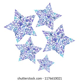 Watercolor floral stars