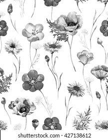 watercolor floral summer pattern, wild flowers, monochrome