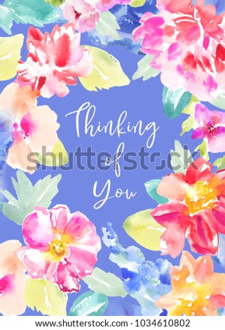 watercolor floral sympathy card thinking you stock illustration