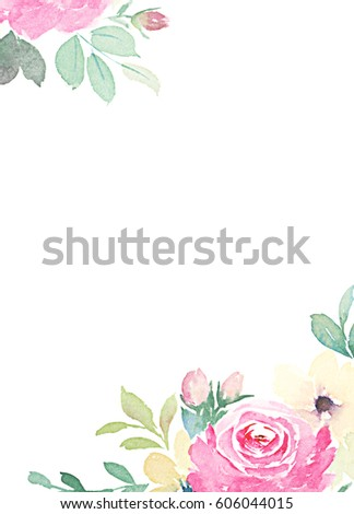 Watercolor floral template greeting cards invitations stock watercolor floral template for greeting cards invitations m4hsunfo