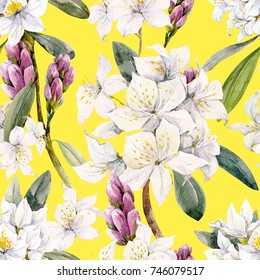 Watercolor floral tropical pattern white oleander flowers, yellow background