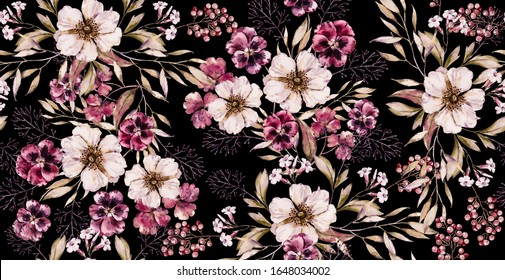 Watercolor floral vintage seamless pattern on luxury black print. hand painted watercolour floral pattern. Floral bouquet Watercolor handpainted illustration. Seamless purple flower victorian pattern