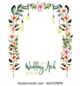 Watercolor floral wedding arch with hanging lamps for bridal design, wedding and invitation cards, hand painted isolated on a white background