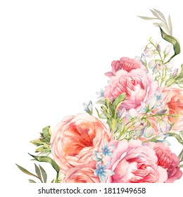 Watercolor floral wedding invitation. Background with floral elements: peonies, roses flowers. Garden style card design