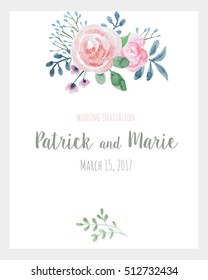 Watercolor floral wedding invitation. pink roses. card template