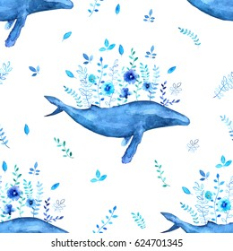 Watercolor floral whales seamless pattern.  Flower, branch, leaf,  and Humpback whale elements.