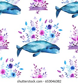 Watercolor floral whales seamless pattern.  Flower, branch, leaf, bouquet with ribbon and Bow head whale elements.
