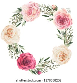 Watercolor floral wreath composition with roses and eucalyptus
