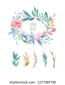 Watercolor floral wreath with floral elements can be used for wedding decoration composition - Illustration