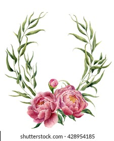 Watercolor floral wreath with eucalyptus leaves, peonies and leaves. Hand painted floral border with branches, leaves and peony flowers isolated on white background. For design or background