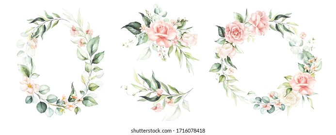 Watercolor floral wreath / frame / bouquet set with green leaves, pink peach blush flowers and branches, for wedding stationary, wallpapers, fashion. Eucalyptus, olive, green leaves, rose.