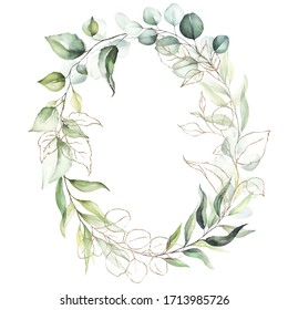 Watercolor floral wreath / frame with green leaves, gold elements and branches, for wedding stationary, greetings, wallpapers, fashion, background. Eucalyptus, olive, green leaves.