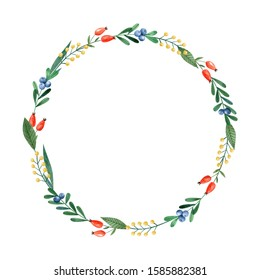 Watercolor floral wreath with green leaves and blueberry and dog-rose berries. Single round frame isolated on white background. Decorative clipart for greeting cards, invitations.