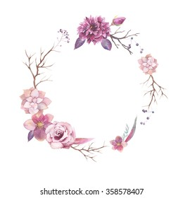 Watercolor floral wreath isolated on white background. Vintage style round frame with wood branches, rose, succulents, hellebore flowers, blue berries, leaves. Natural hand painted design object