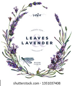 Watercolor Floral Wreath made of Lavender Flowers, Buds, and Leaves with Green Dragonfly. Vintage Botanical Illustration of Lavandula. Boho French Style Purple Wedding Decoration isolated on White.
