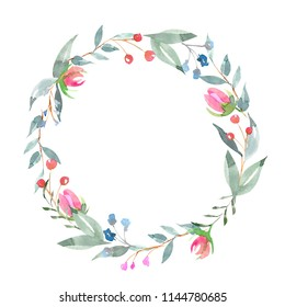 Watercolor floral wreath. Perfect for for wedding stationary, greetings, wallpapers, fashion, backgrounds, textures, DIY, wrappers, cards