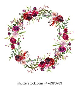 Watercolor floral wreath purple burgundy roses peonies fall flowers and leaves isolated on white background.