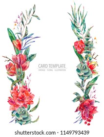 Watercolor floral wreath of red flowers, Amaryllis, eucalyptus, tropical leaves and succulents, botanical natural vintage illustration isolated on white background