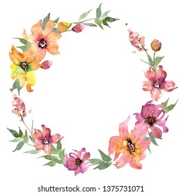 Watercolor Floral Wreath with Red  and Yellow Flowers