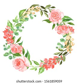 watercolor floral wreath of rose pink and greenery leaf for wedding invitation, greeting card
