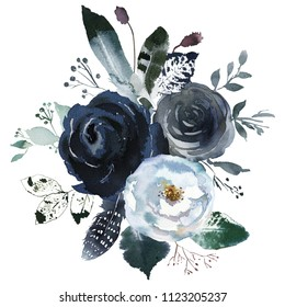 Watercolor Floral Wreath Roses Peonies Leaves Boho Grey Navy White Indigo Blue Isolated On White Background