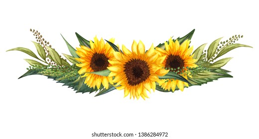 Watercolor floral wreath with sunflowers,leaves, foliage, branches, fern leaves and place for your text. Perfect for wedding, invitations, greeting cards, print. Autumn's sunflowers bouquet.