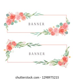 Watercolor florals hand painted with text banner, lush flowers aquarelle isolated on white background. Design border for card, save the date, wedding invitation cards, poster, banner design.