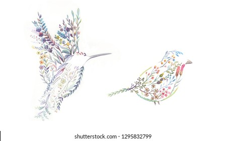 Watercolor floret small leaf combination bird
