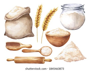 Watercolor flour set with sack, wheat, jar and bowl isolated on white background. Hand drawn watercolour food illustration.