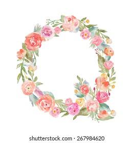 Watercolor Flower Alphabet Letter Q.