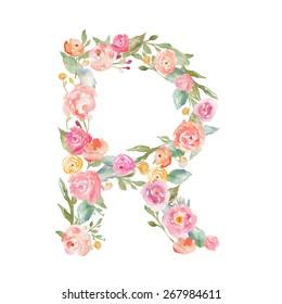 Watercolor Flower Alphabet Letter R.