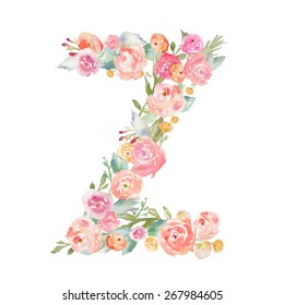 Watercolor Flower Alphabet Monogram Letter Z Made of Florals