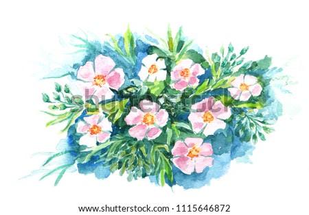 watercolor flower artwork stock illustration 1115646872 shutterstock