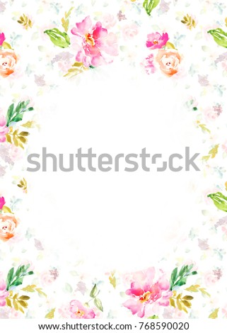 Watercolor Flower Background Blank Floral Invitation Stock ...