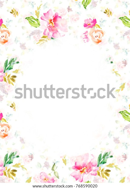 Watercolor Flower Background Blank Floral Invitation Stock
