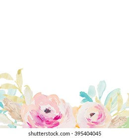 Watercolor Flower Background With Painted Purple Floral Elements