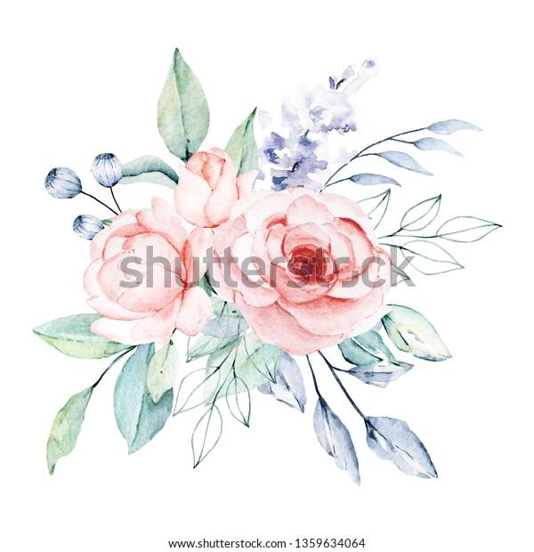 Watercolor Flower Bouquet Floral Clip Art Stock Illustration 1359634064