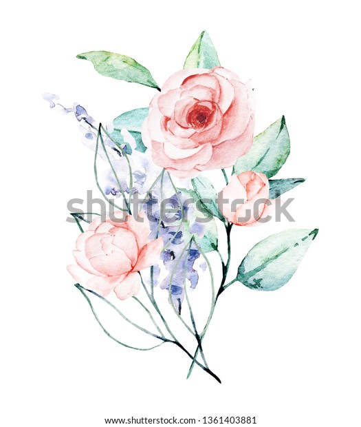 Watercolor flower bouquet. Floral clip art. Perfectly for print on wedding invitation, greeting card, wall art, stickers and other. Isolated on white background. Hand paint design.