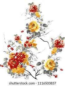 watercolor flower bunch
