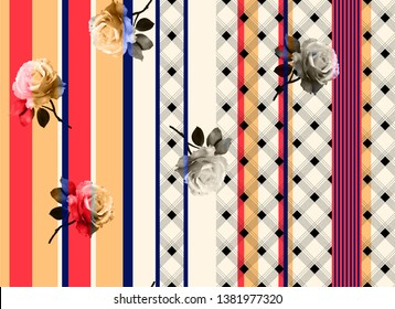 Watercolor flower with checks with tripe cream background pattern