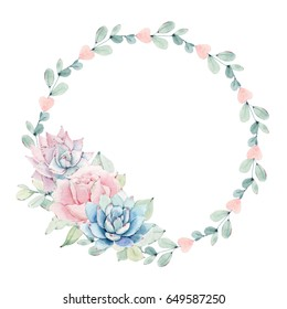 watercolor flower circle frame. Perfect for invitation, wedding or greeting cards.