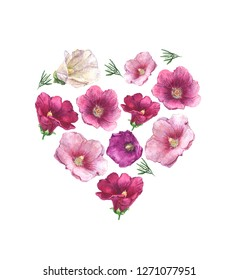 Watercolor flower composition for Valentine Day or wedding from mallow (hollyhock) flower (pink, red, white). Isolated.