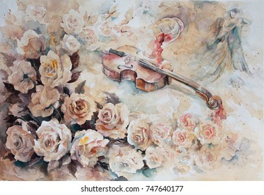 watercolor, flower composition, waltz roses with wine and violin