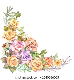 watercolor flower corner with roses