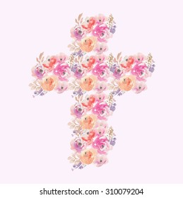 Watercolor Flower Cross Made of Painted Floral Elements. Perfect for Easter, Baptism, and Christening Announcements