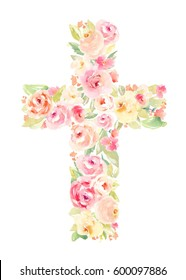 Watercolor Flower Cross Perfect for Easter, First Communion, Christening, and Baptism Invitations