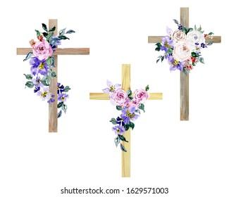 Watercolor Flower Cross, Wood Cross, Baptism, Floral Clipart, Hand Painted First Communion, Holy Spirit, Florals Arrangements, Easter cross