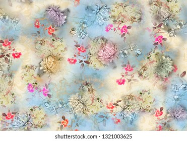 watercolor flower digital background pattern