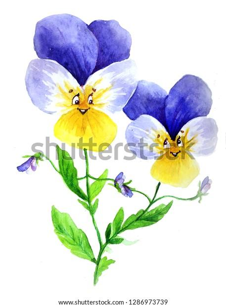 Watercolor Flower Emoji Illustration Stock Illustration