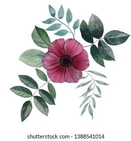 Watercolor flower isolated on white background. Hand draw flower watercolor illustration. Design element of the flower. Flowers and leaves isolated on white background.